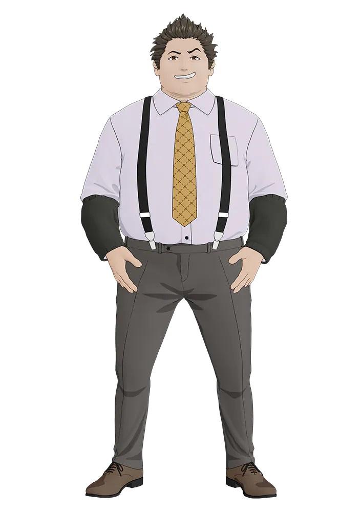Un personaje visual de Kyohei Himi del próximo anime de televisión TESLA NOTE.  Kyohei es un hombre regordete con una expresión sonriente y cabello peinado hacia atrás, puntiagudo.  Viste camisa de vestir, pantalones, tirantes y una corbata amarilla de mal gusto.