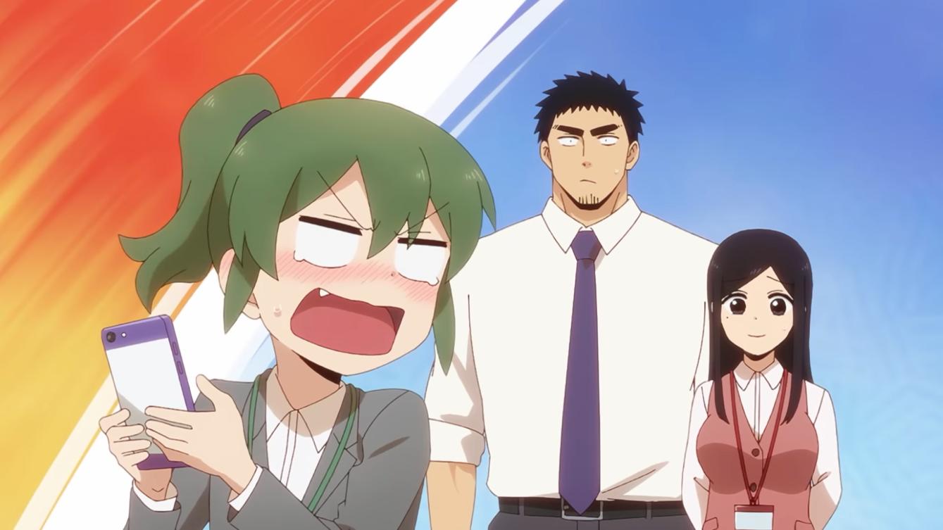 Futaba Igarashi gruñe a sus compañeros de trabajo, Harumi Takeda y Touko Sakurai, mientras intenta operar su teléfono inteligente en una escena del próximo anime televisivo My Senpai is Annoying.