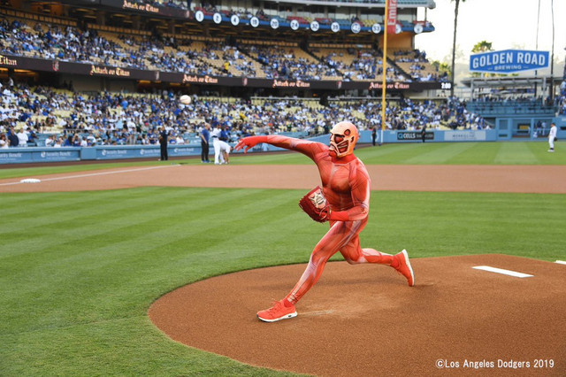 Titan-kun throws out the ceremonial first pitch at the L.A. Dodgers vs. the San Diego Padres game at Dodger Stadium on July 05, 2019.