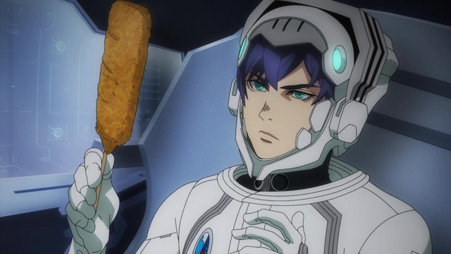 Ace pilot Subaru Ichinose prepares to enjoy a fried pork skewer in the cockpit of his mecha, Durandal-F, prior to a sortie.