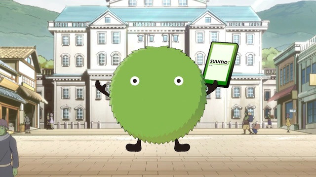 The green fluffball mascot for the Suumo housing information website is transported to the magical world of the That Time I Got Reincarnated as a Slime TV anime.