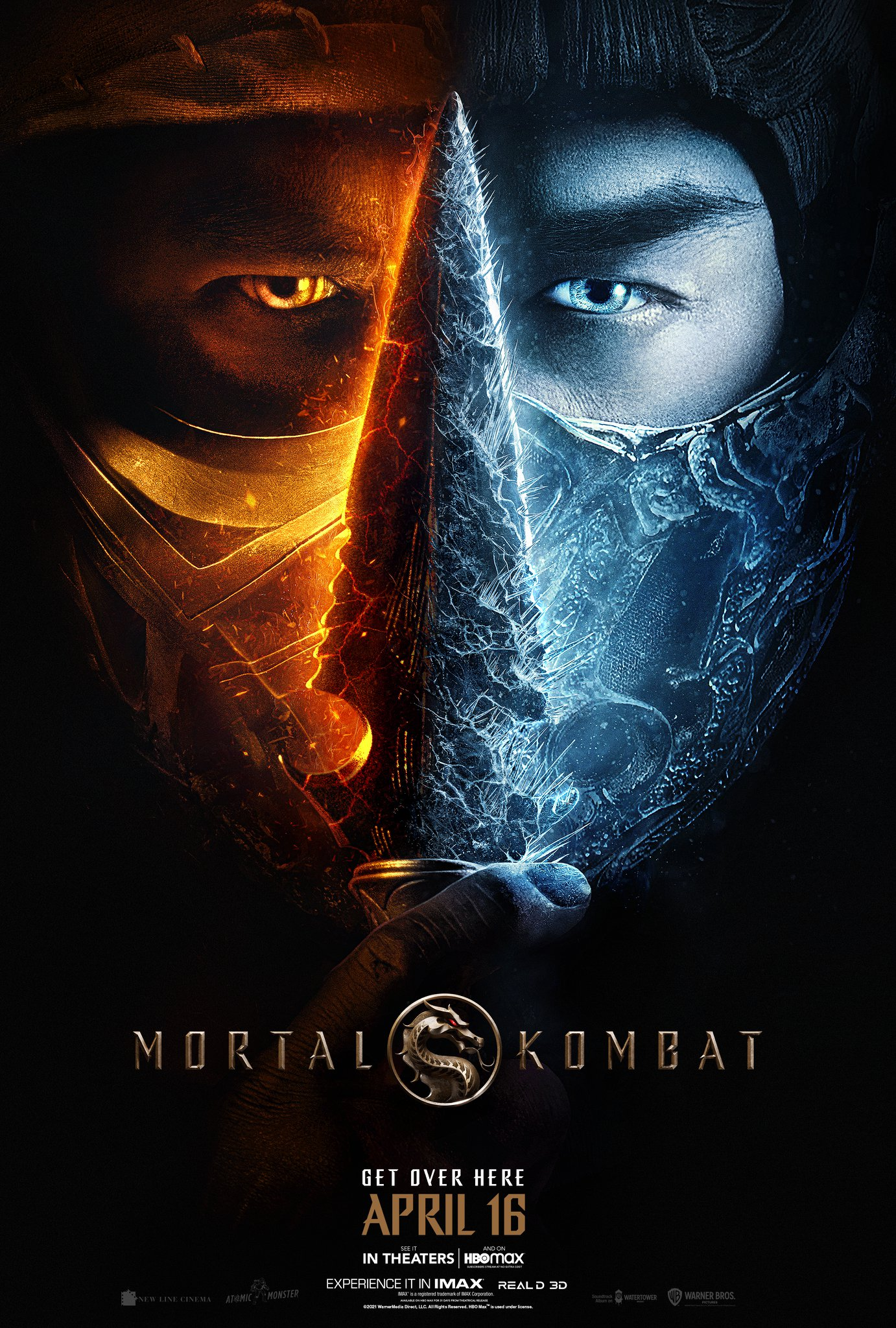 The official movie poster for the 2021 Mortal Kombat film, featuring an image that is half the face of Scorpion and half the face of Sub-Zero, divided in the center by Scorpion's trademark spear-head, which is half covered in Sub-Zero's frost.