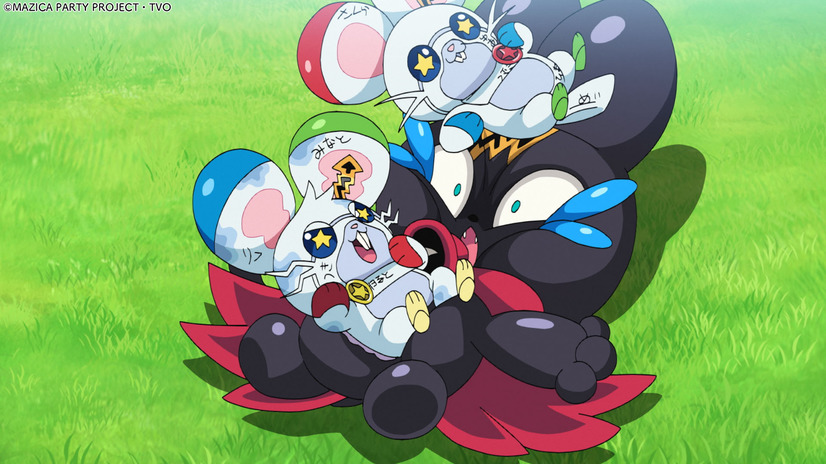 Balloonya gets squashed by a pair of Mice Mazin in a scene from the upcoming MAZICA PARTY TV anime.