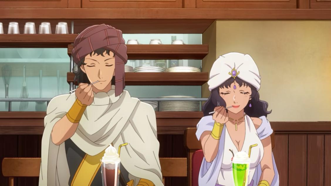 Shareef y Ranner disfrutan de una muestra de sus postres helados helados en una escena del próximo anime televisivo Restaurant to Another World 2.