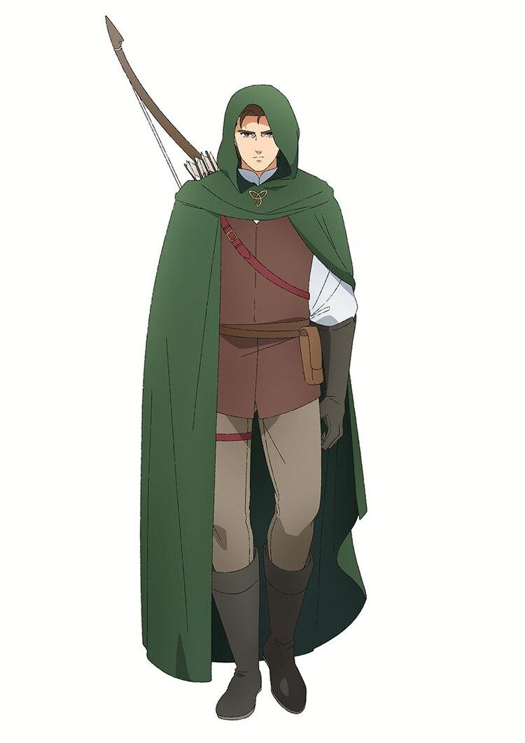 Un escenario de personajes de Huey, un aventurero con armadura de cuero ligero y una capa y capucha verde bosque con un arco y un carcaj de flechas atadas a su espalda, del próximo anime de televisión Dragon Goes House-Hunting.