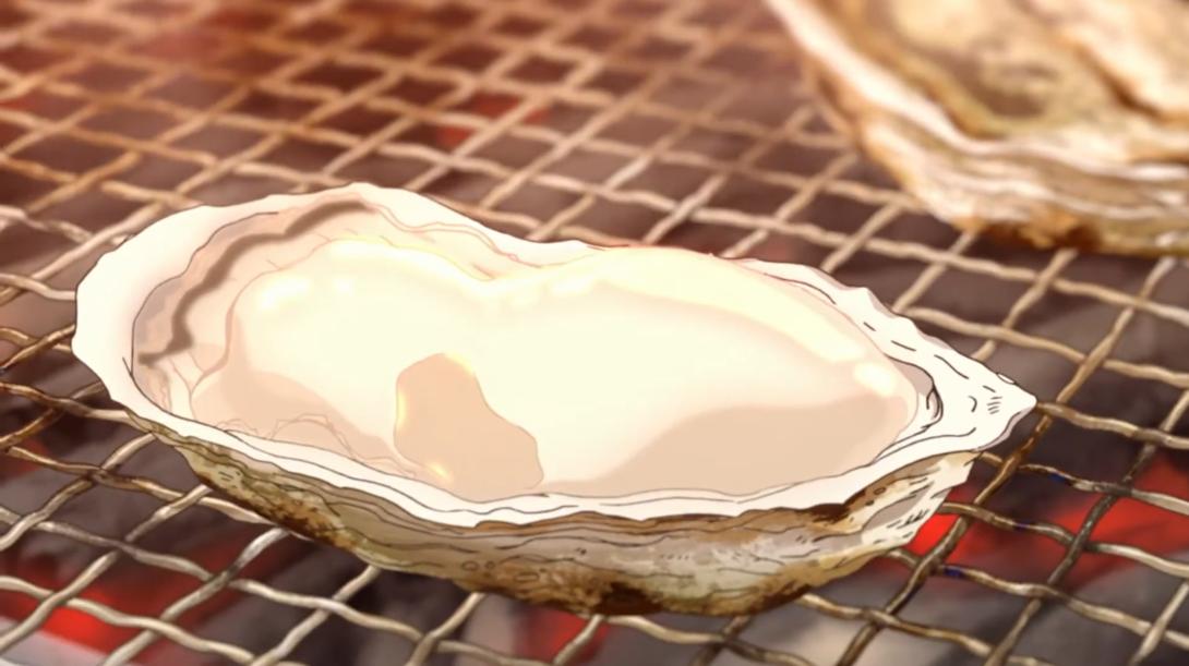 """Una imagen de un frito particularmente delicioso """"ostra takezaki"""" de la serie de animación ultracorta de Midnight Japanese Food Anime producida por la prefectura de Saga para promover su cocina local."""