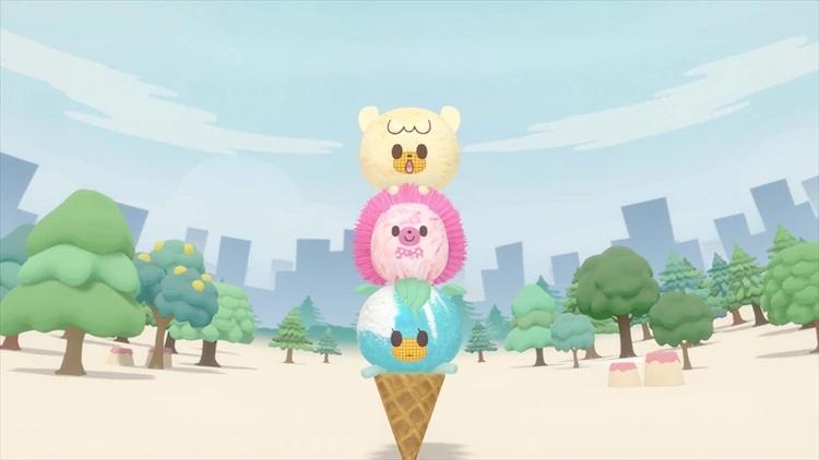 Vanillan, Stracchi y Bluen forman una formación de helado de tres pisos en una escena del próximo anime de televisión iii icecrin.
