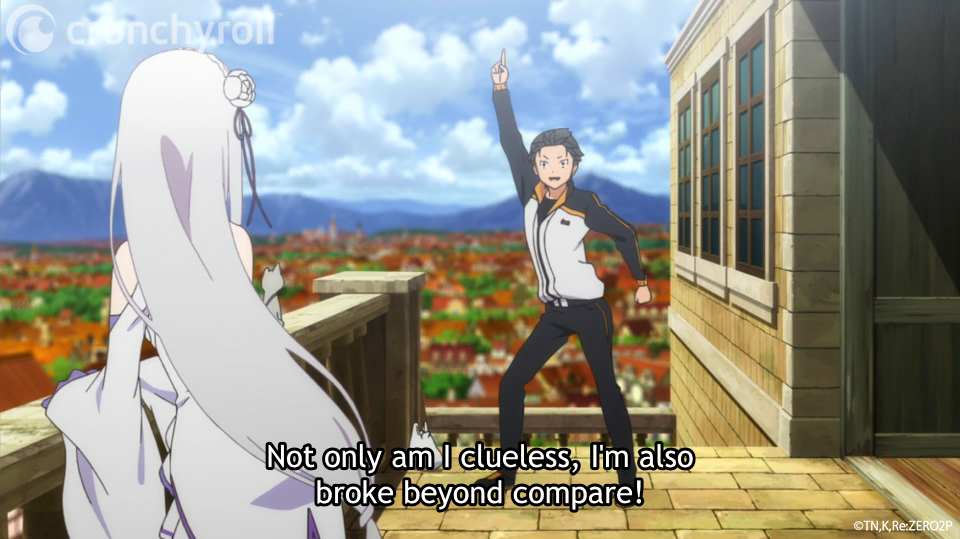 Natsuki Subaru strikes a goofy disco pose while introducing himself to Emilia and Puck in a scene from the first episode of the Re:ZERO -Starting Life in Another World- TV anime.