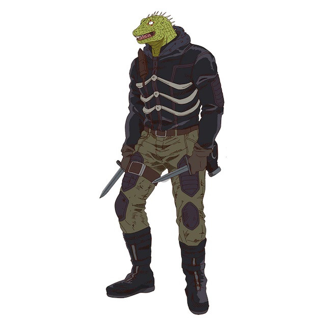 Caiman, a man with a lizard head in the Dorohedoro TV anime.