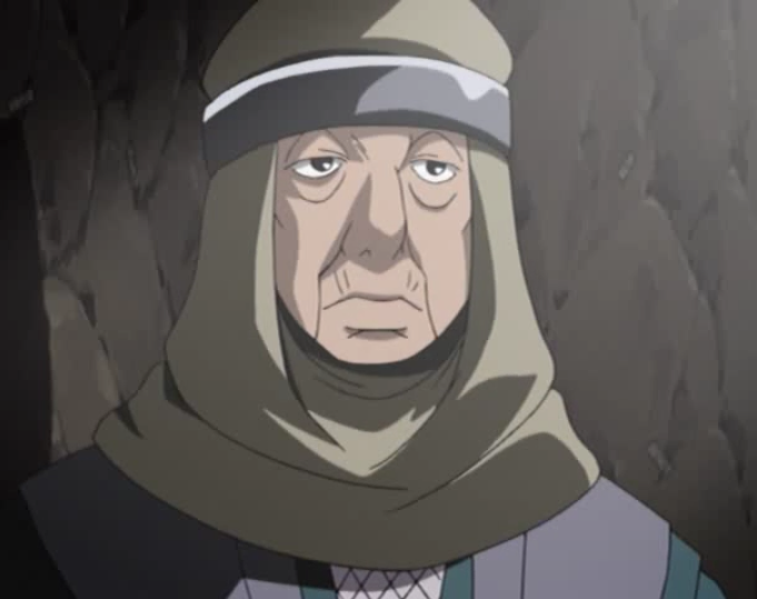 Genno, a master infiltrator and trap specialist, somberly confronts Naruto in a scene from Episode 201 of the 2002 - 2007 Naruto TV anime.