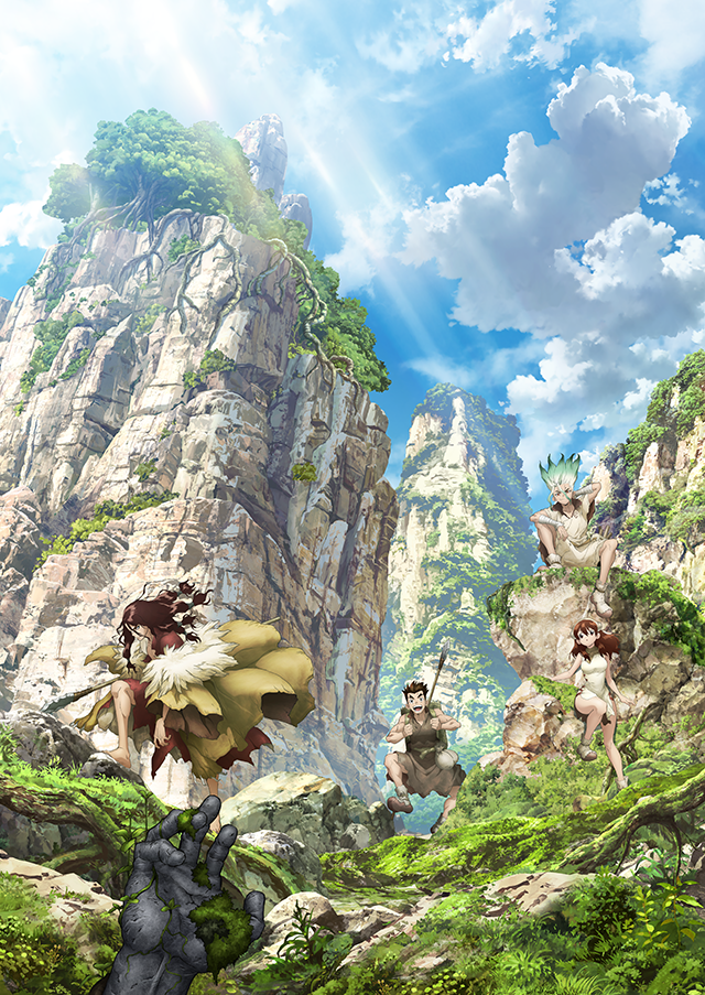 Dr. Stone, In this key art, Senku and fellow survivors Taiju, Yuzuriha, and Tsukasa sit among the post-civilization greenery
