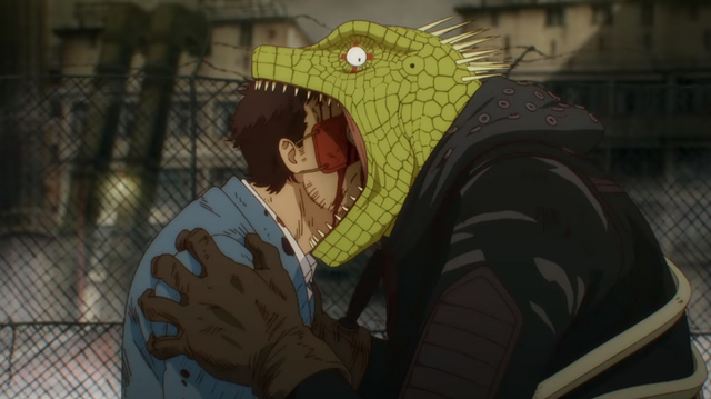 Caiman puts the bite on a sorcerer (and talks with his mouth full) in a scene from the upcoming Dorohedoro TV anime.