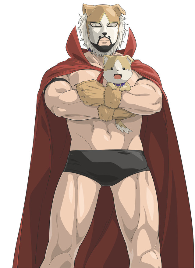 Kemono Mask, aka Genzo Shibata, a muscular masked wrestler with a cape and a puppy in his arms.