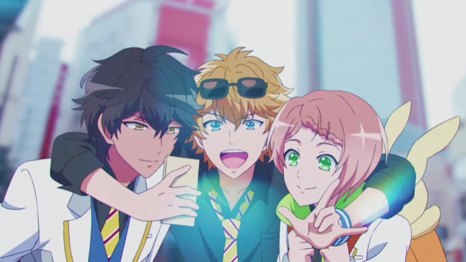 The boys of fledgling idol trio Fire Phoenix (aka F∞F) smile and pose for a selfie in a scene from the I★CHU TV anime.