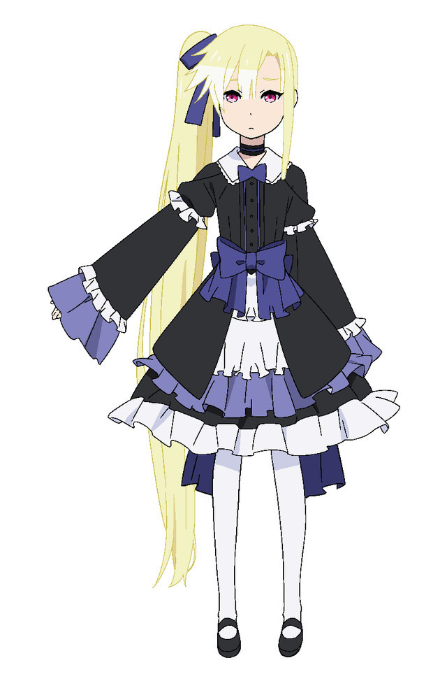 Tron, a girl with long blonde hair in a side tail who dresses in Gothic Lolita style..