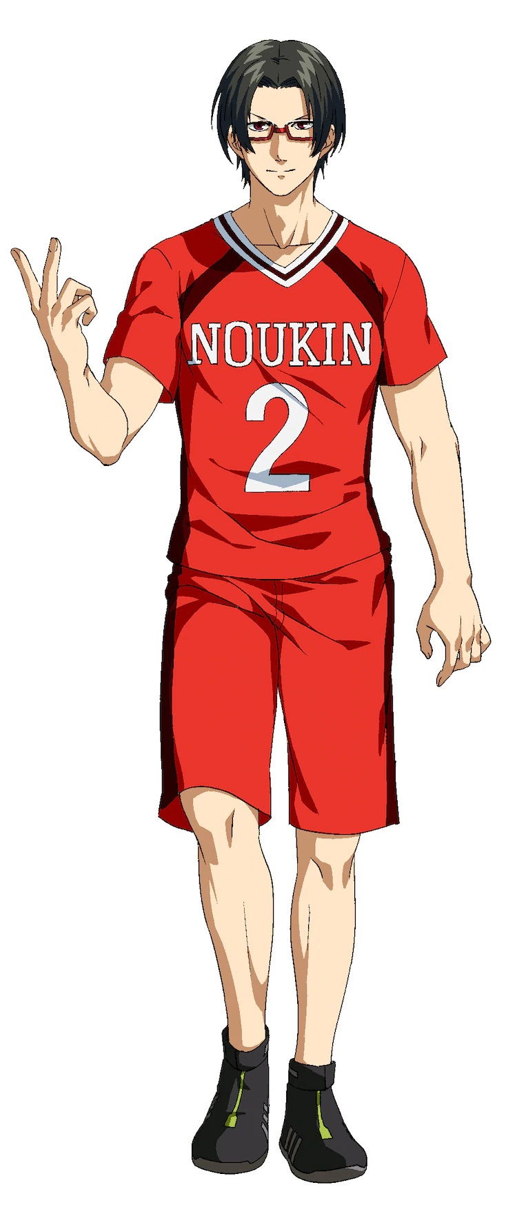 A character setting of Kei Iura, a bespectacled members of the Noukin High School kabaddi club whose gentle demeanor hides a ruthless cunning, from the upcoming Burning Kabaddi TV anime.