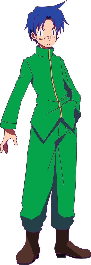 A character setting of Easley from the upcoming Heion Sedai no Itaden-tachi TV anime. Easley is a young man with spectacles and blue hair who dresses in a green school uniform and boots.