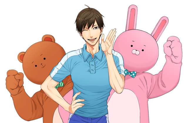 A banner image made from the main key visual for the Uramichi Oniisan TV anime, featuring the main character Uramichi Omoto and the two mascot characters, Usaokun and Kumaokun.