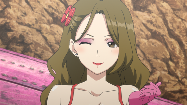 Disguised as a dancing girl, Zara winks at the camera in a scene from The Magnificent KOTOBUKI TV anime.