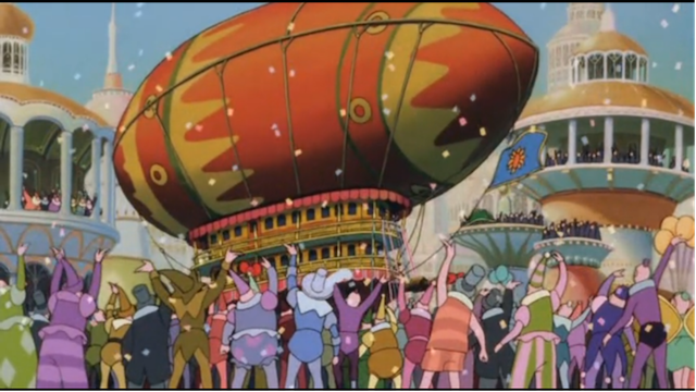 """A crowd celebrates a parade from """"Little Nemo: Adventures in Slumberland"""""""