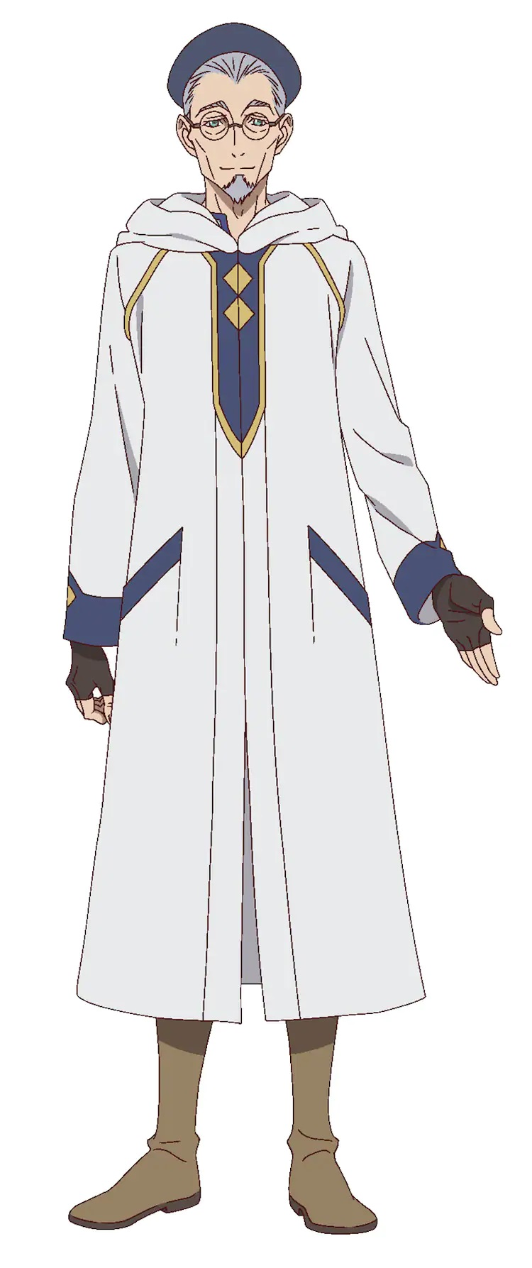 """A character setting of Antonio, aka """"Tonio"""", from the upcoming The Faraway Paladin TV anime. Tonio appears as an elderly human man dressed in the clothes of a traveling scholar."""