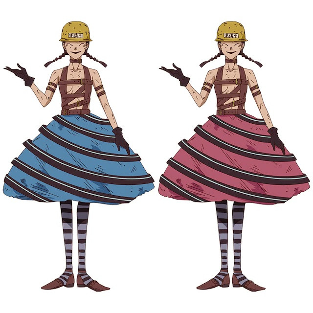 A character visual of Aitake and Maitake, a pair of identical twin sorceresses dressed in leather straps and color-coded poodle skirts from the upcoming Dorohedoro TV anime.