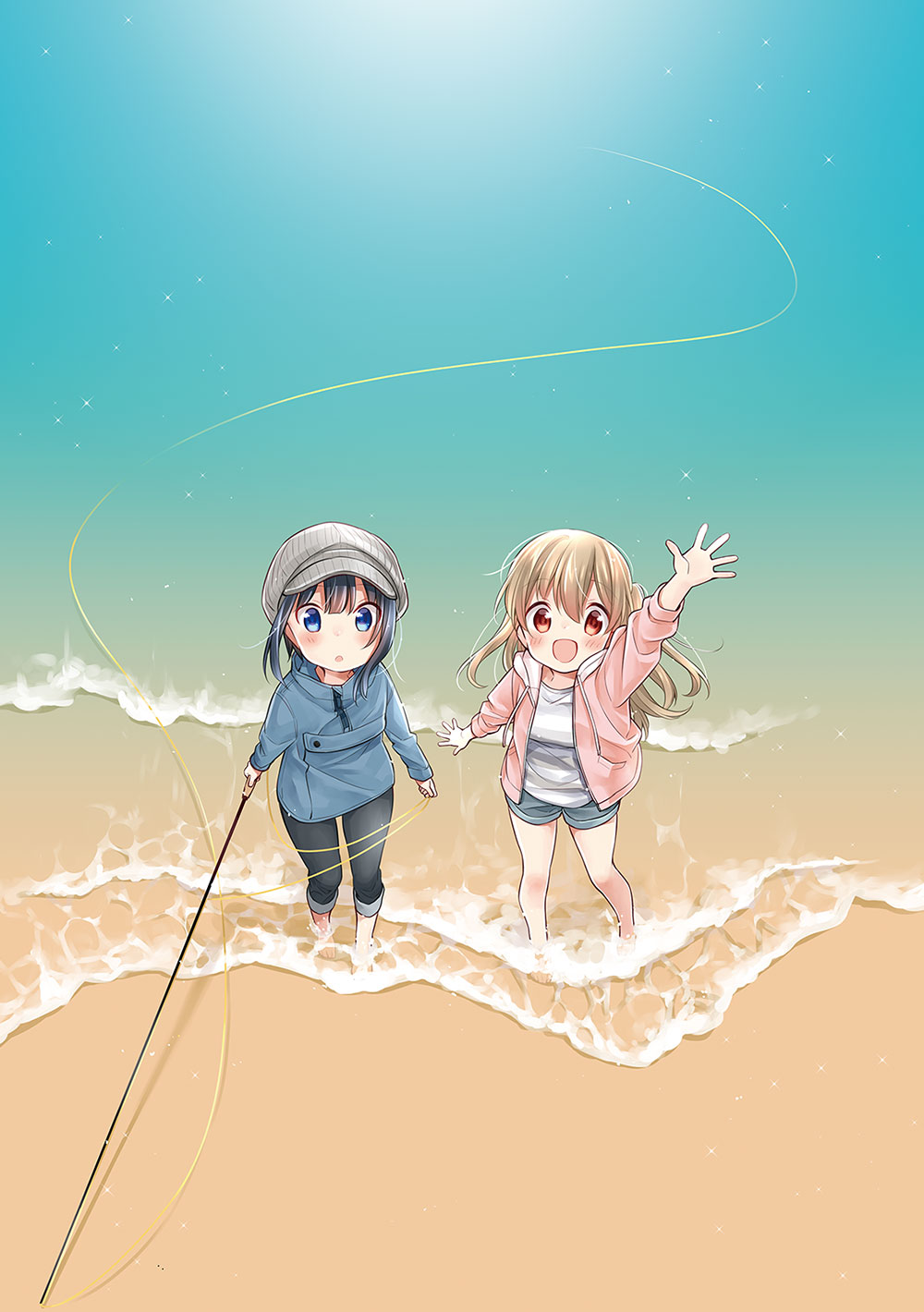 A key visual for the newly announced Slow Loop TV anime, featuring the main characters - step-sisters Hiyori and Koharu Minagi - as they pose in the surf at the beach.with a fly-fishing pole.