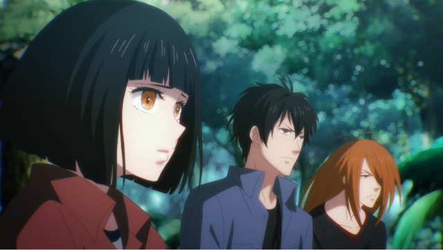 The main cast gathers around a campfire for a somber meeting in a scene from the 7SEEDS Netflix Original Anime.