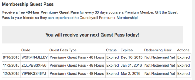crunchyroll guest pass 2016