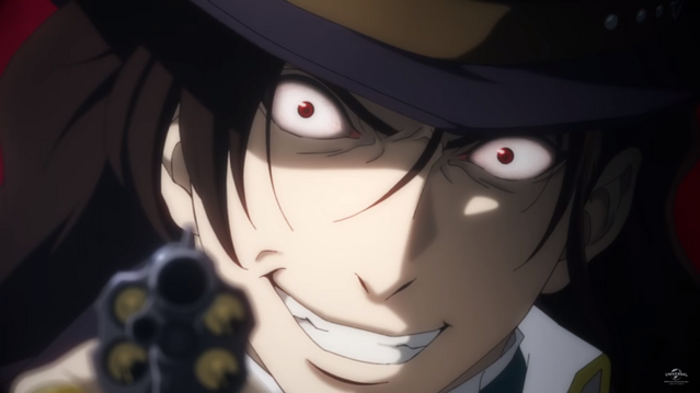 Cain brandishes a revolver with a deranged look in his eyes.