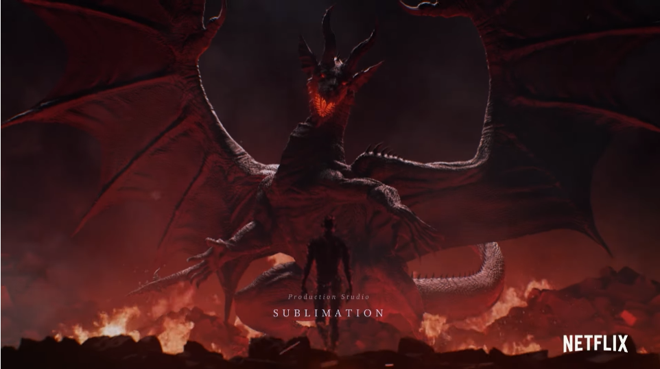 The titular Dragon towers threateningly over the Arisen in a scene from the opening animation to the upcoming Netflix original anime for Dragon's Dogma.