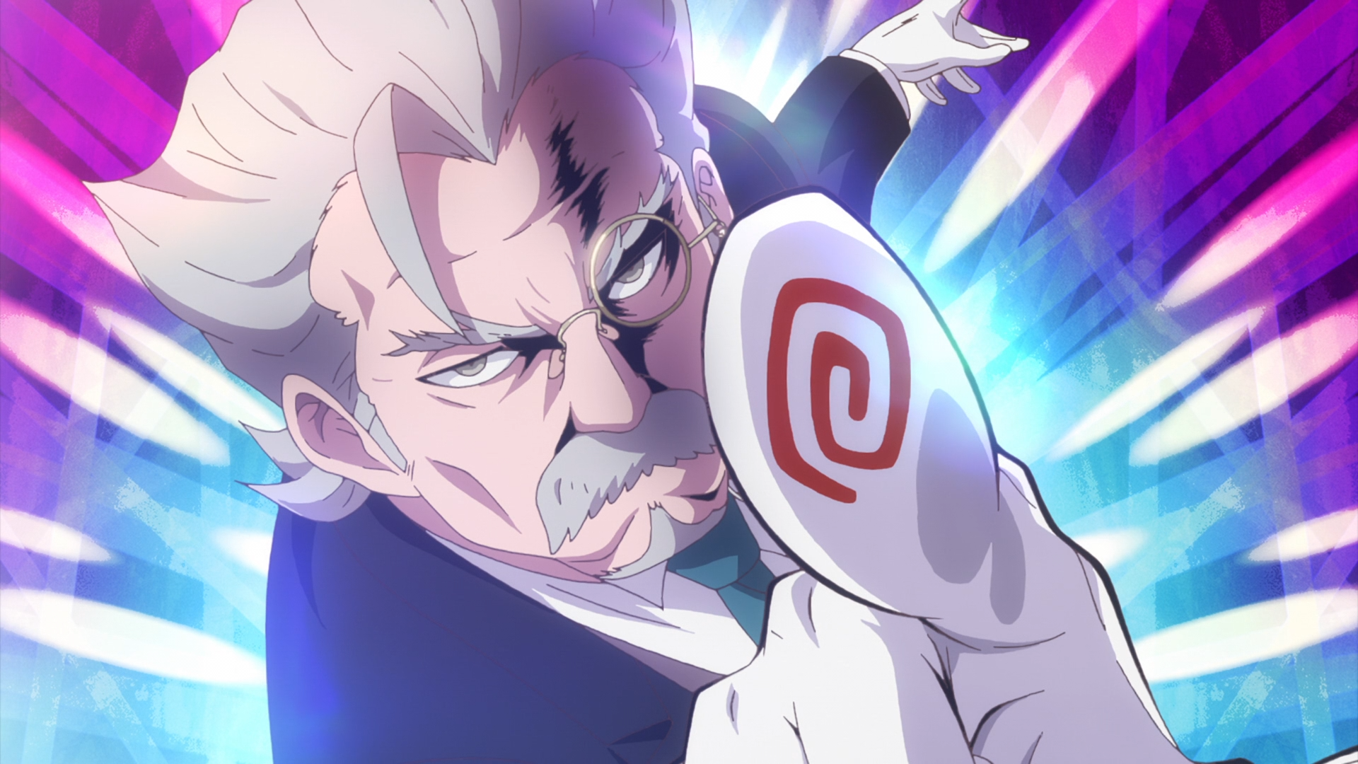 Sebas the Butler points dramatically in a scene from the 2017 Anime-Gataris TV anime.