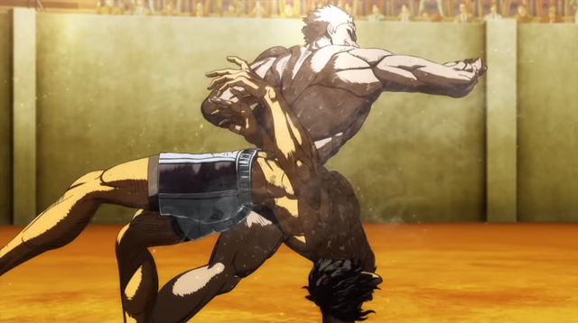 Tokita Ohma gets clobbered in a screen capture from the trailer for the second half of the Kengan Ashura anime.