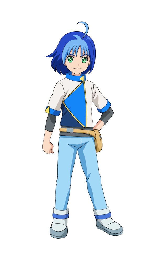 A character visual of Kuuga Kudou, one of the twin-protagonists in Tomica Kizuna Gattai: EARTH GRANNER. Kuuga has blue hair, green eyes, and bright, determined expression.