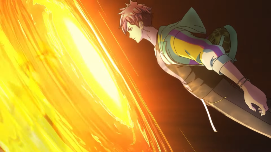 Ryuhei passes through a portal of golden light to receive a combat power up in a scene from the opening animation of the D_CIDE TRAUMEREI THE ANIMATION TV anime.