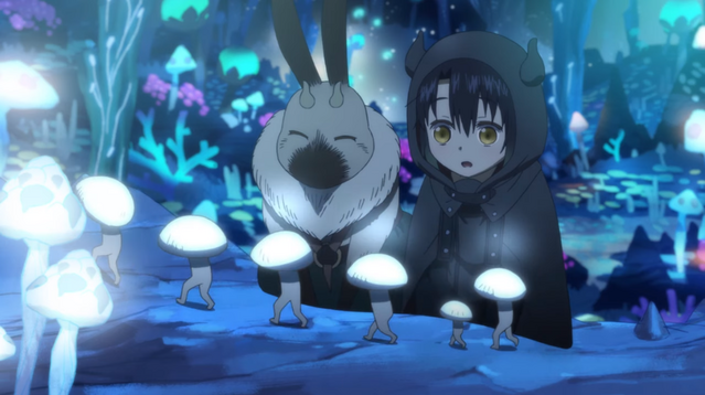 Kikeela and Somali observe a line of migrating mushrooms in the Somali and the Forest Spirit TV anime.