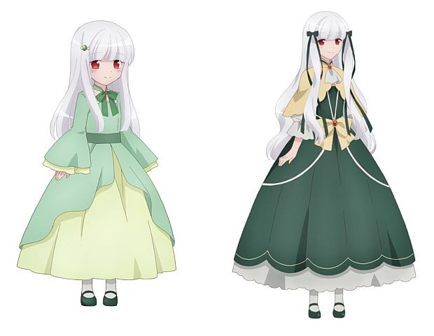 A character visual of Sophia Ascart as a girl and as a young lady from the upcoming My Life as a Villainess: All Routes Lead to Doom! TV anime.