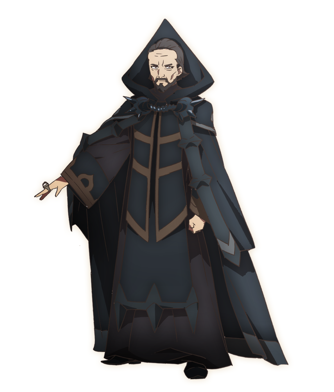 A character setting of Germain from the SEVEN KNIGHTS REVOLUTION: Hero Successor TV anime. Germain appears as a middle-aged man in dark wizard robes. He sports short hair and a finely trimmed mustache and goattee, but his face looks worn and hollowed by the years.