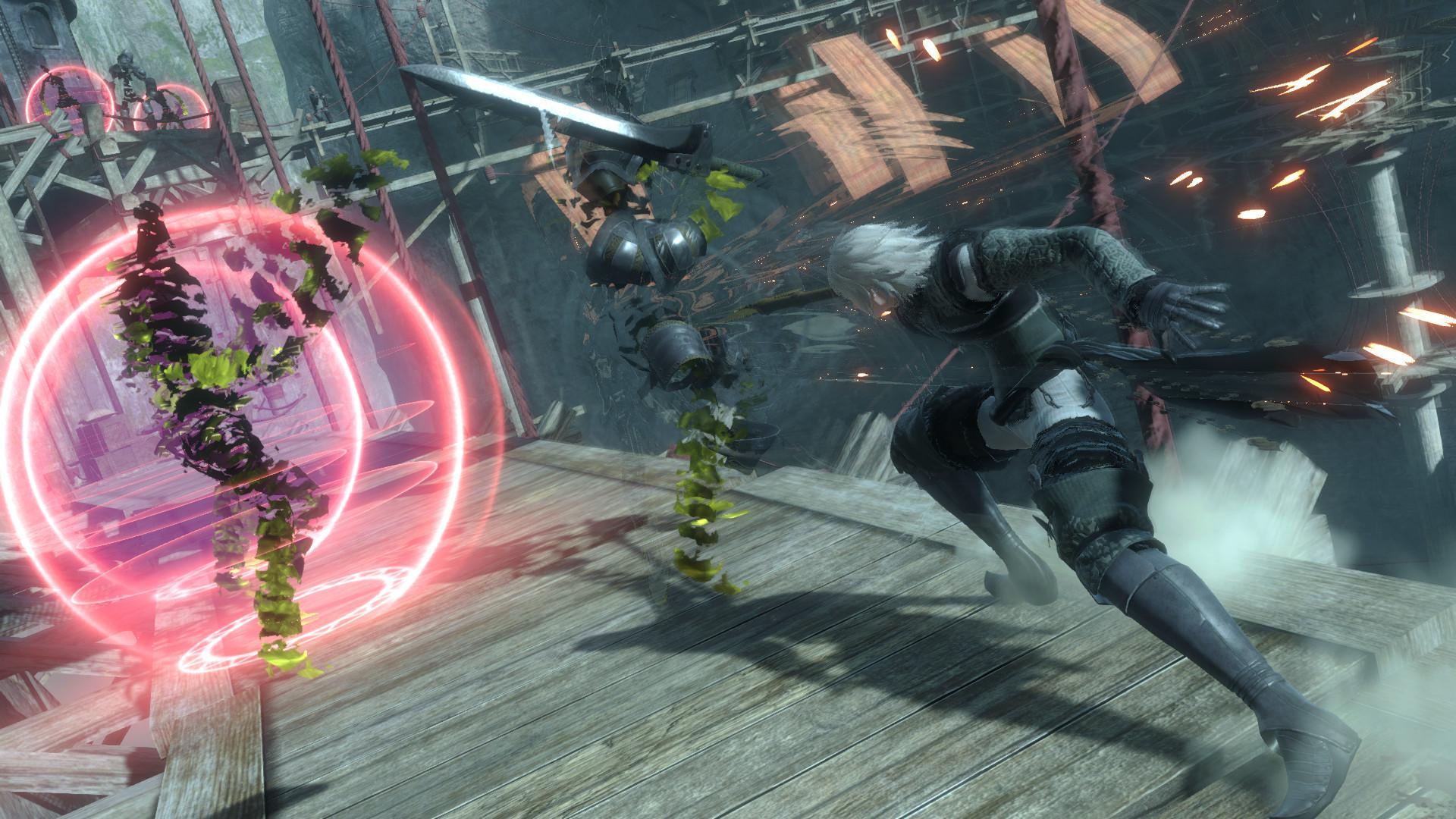 Una imagen promocional para Nier Replicant ver.1.22474487139 ... que presenta una escena de acción dinámica en la que el personaje principal se enfrenta a una serie de fallos informáticos como enemigos con una espada.