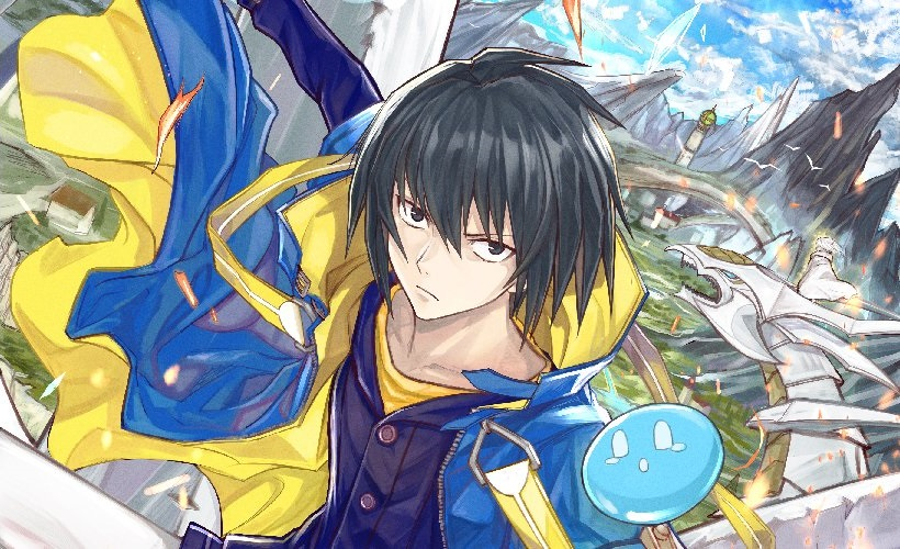Una imagen de banner recortada de la cabeza de Twitter para la transmisión oficial del próximo anime de televisión Tensei Kenja no Isekai Life - Daini no Shokugyou o Ete, Sekai Saikyou ni Narimashita, con el personaje principal, Yuji Sano posando dramáticamente con un limo amistoso, como ilustrado por Fuuka Kazabana.