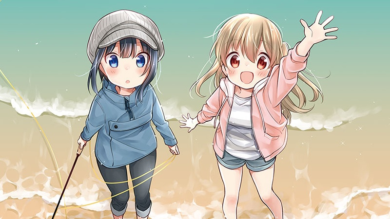 A cropped version of the teaser image for the upcoming Slow Loop TV anime, featuring the main characters - step-sisters Hiyori and Koharu Minagi - posing in the surf at the beach with their fly-fishing pole.