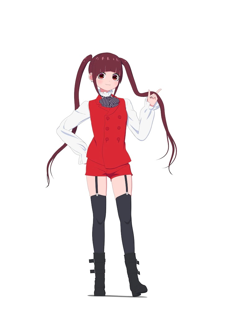 A character setting of Viola from the upcoming The Duke of Death and His Maid TV anime. Viola appears as a slender young woman with maroon-brown hair in long twin-tails and red eyes. She wears a blackjack dealer's outfight with a red vest, red shorts, a white blouse, a black cravat, thigh high black stockings with garters, and shin high black boots.