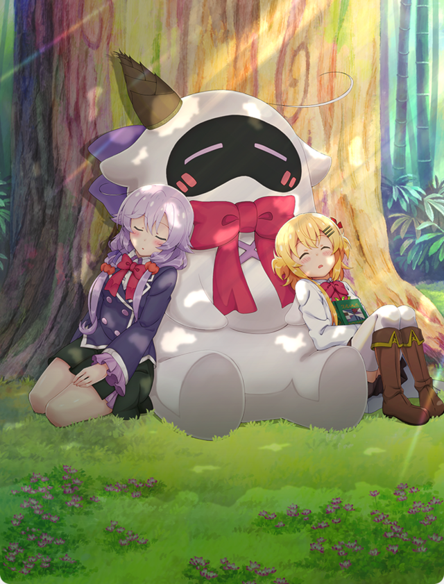 Peta, Null, and Peta Robo sleep peacefully at the base of an old oak tree in a new key visual for the Null & Peta TV anime.