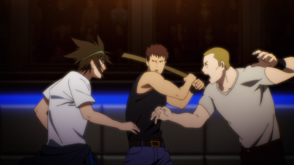 Jin Mori prepares to put the hurt on a pair of martial arts hooligans during the qualifying round of tournament in a scene from The God of High School TV anime.