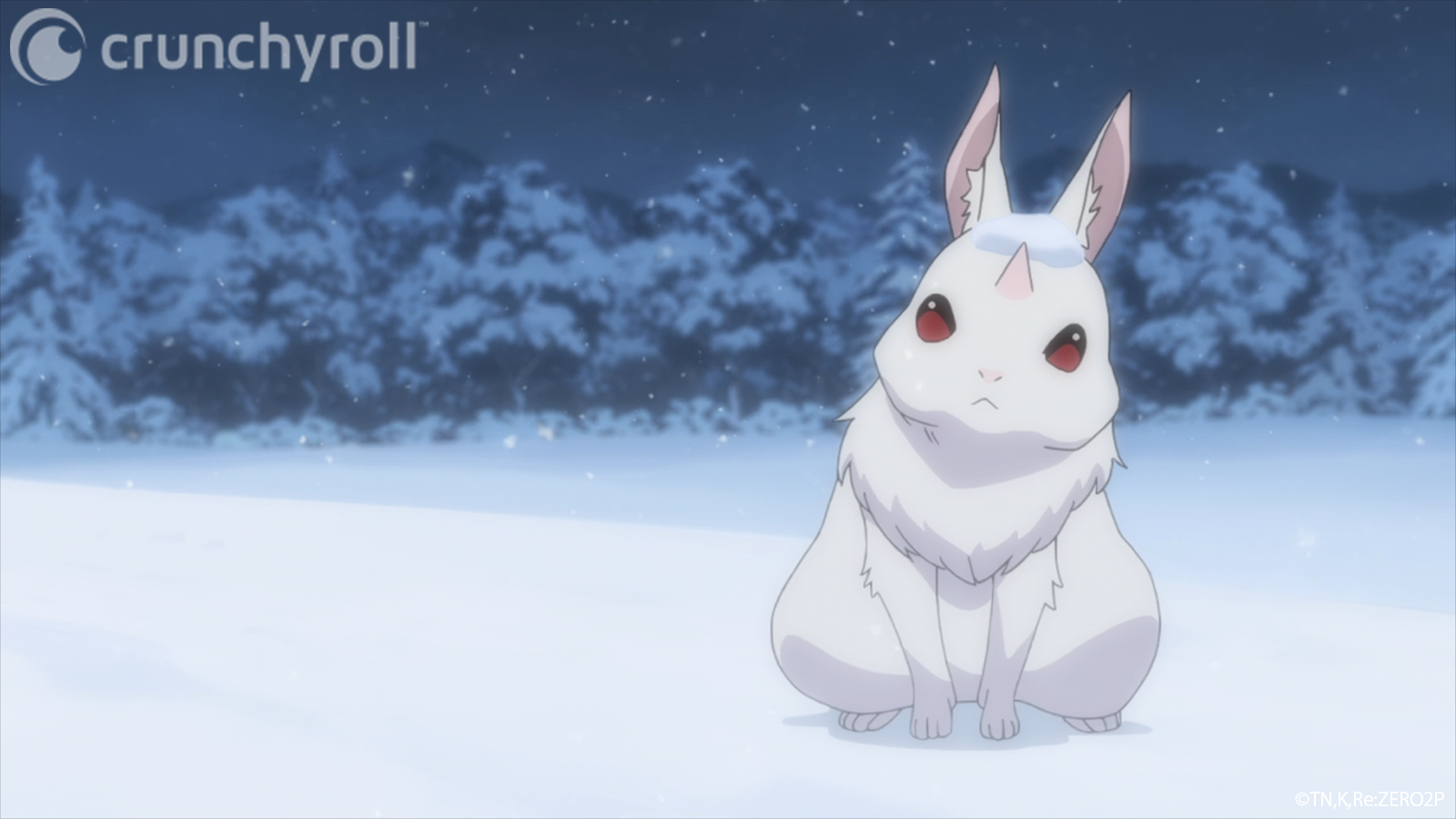 The Great Rabbit appears to be a harmless little bunny with a horn growing out of its forehead in a scene from Episode 33 of Re:ZERO -Starting Life in Another World-.