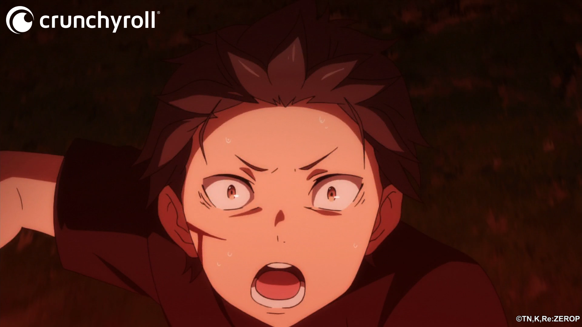 Natsuki Subaru attempts to flee from a murderous Rem in a scene from the Re:ZERO -Starting Life in Another World- TV anime.