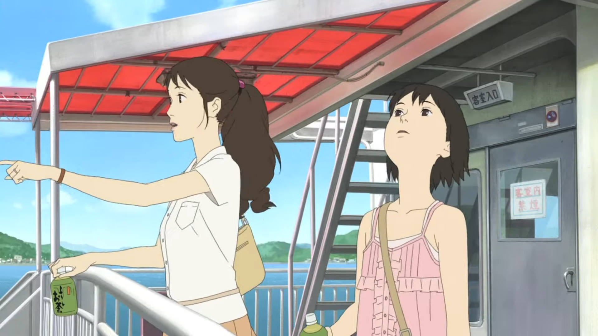 Momo and her mother aboard a ship on the way to Shio Island, in A Letter to Momo