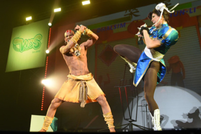 Team Mexico, the 2018 World Cosplay Championship winners, cosplaying as Dhalsim and Chun Li from Capcom's Street Fighter video game series.