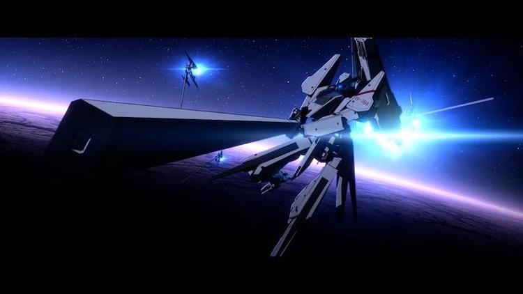 Un puñado de mechas de Garge abordan un ataque de las fuerzas de Gauna durante una simulación de entrenamiento de realidad virtual en una escena de la próxima película de anime teatral Knights of Sidonia: A Star that Weaves Love.