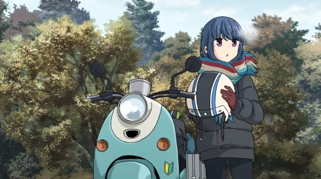 Rin Shima and her scooter, from Laid-Back Camp